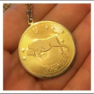 Jewelry - Gold TAURUS Bull Coin Pendent Necklace